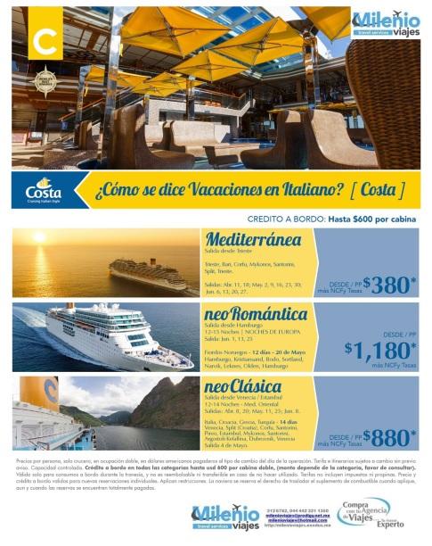 PROMOCIONES MEDITERRANEO COSTA CRUCEROS INV 2015 - MVDD